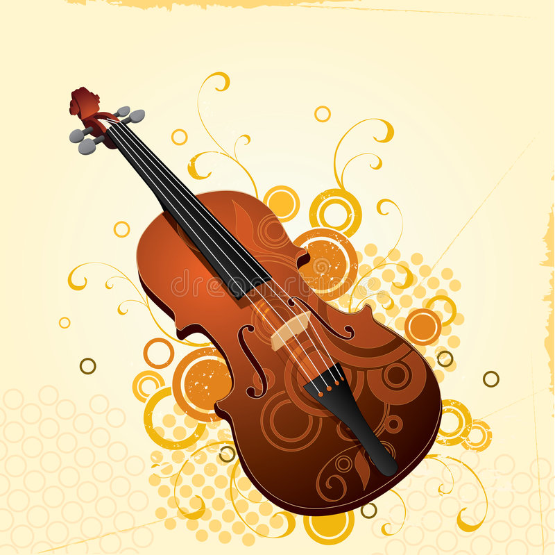 Download Illustrated Violin With Design Stock Vector - Image: 3913081