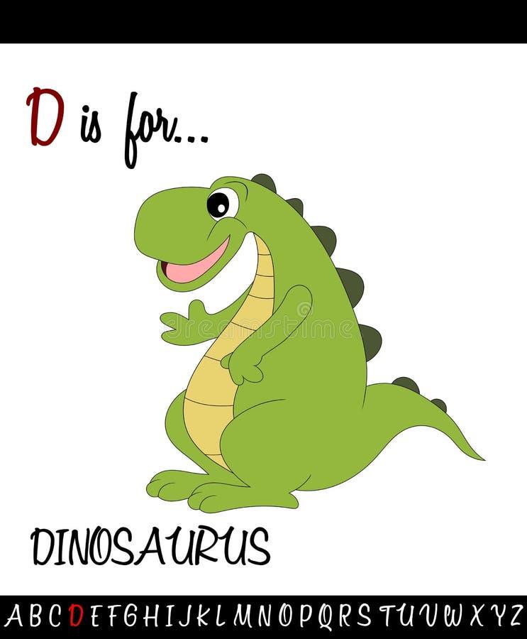 Illustrated vocabulary worksheet card with cartoon dinosaurus. For Children Education vector illustration