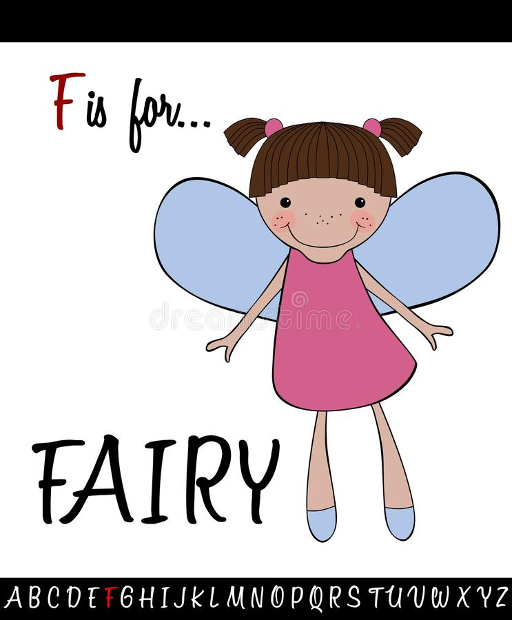 Illustrated vocabulary worksheet card with cartoon FAIRY. For Children Education vector illustration
