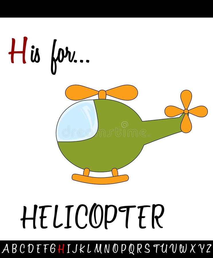 Illustrated vocabulary worksheet card with cartoon HELICOPTER. For Children Education stock illustration
