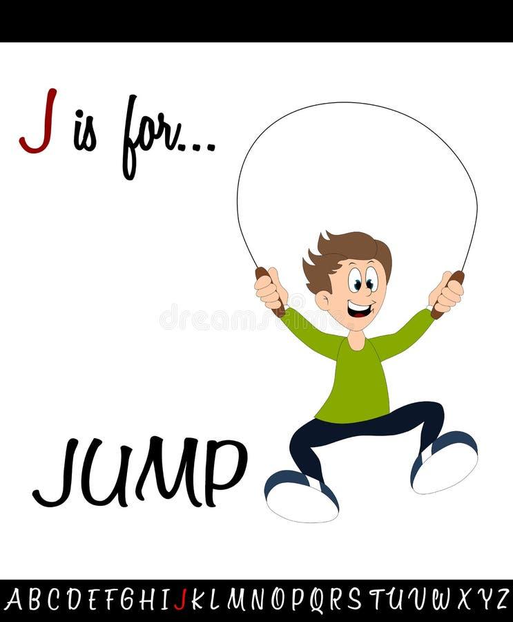 Illustrated vocabulary worksheet card J is for JUMP. For Children Education vector illustration