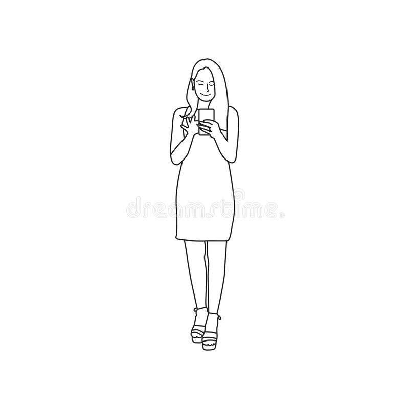 Illustrated woman using mobile phone stock illustration