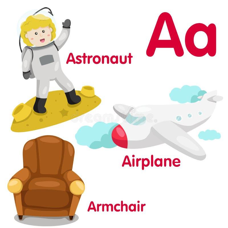 Illustrateur d'alphabet d'A illustration de vecteur