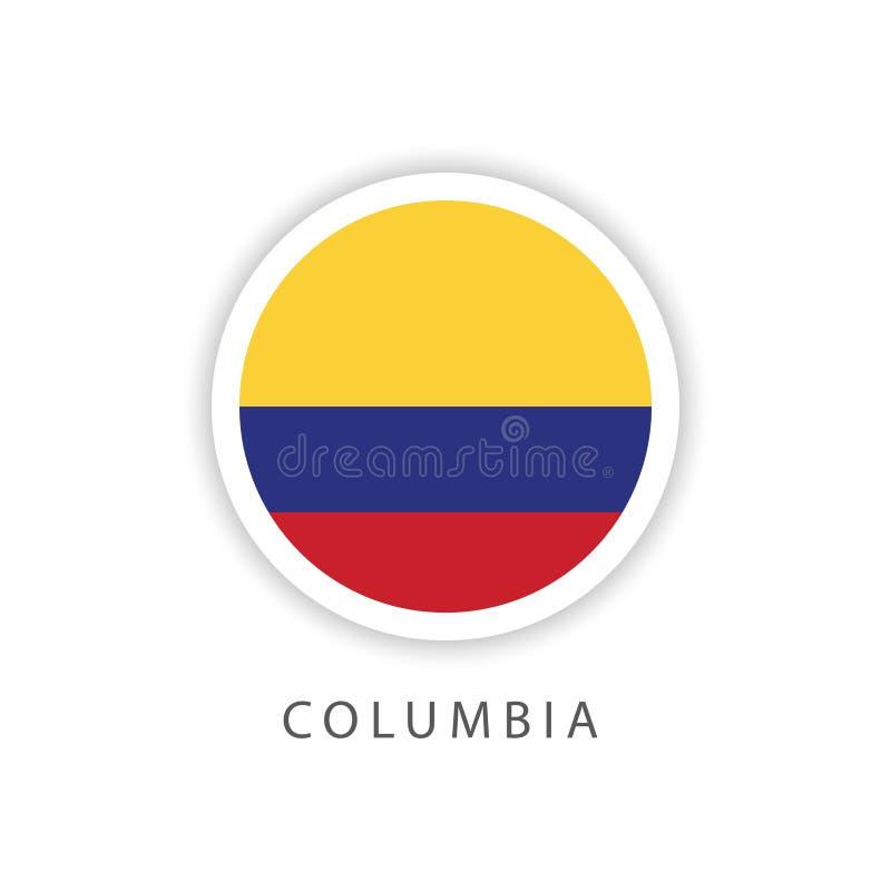 Illustrateur de conception de calibre de vecteur de drapeau de bouton de Colombie images libres de droits
