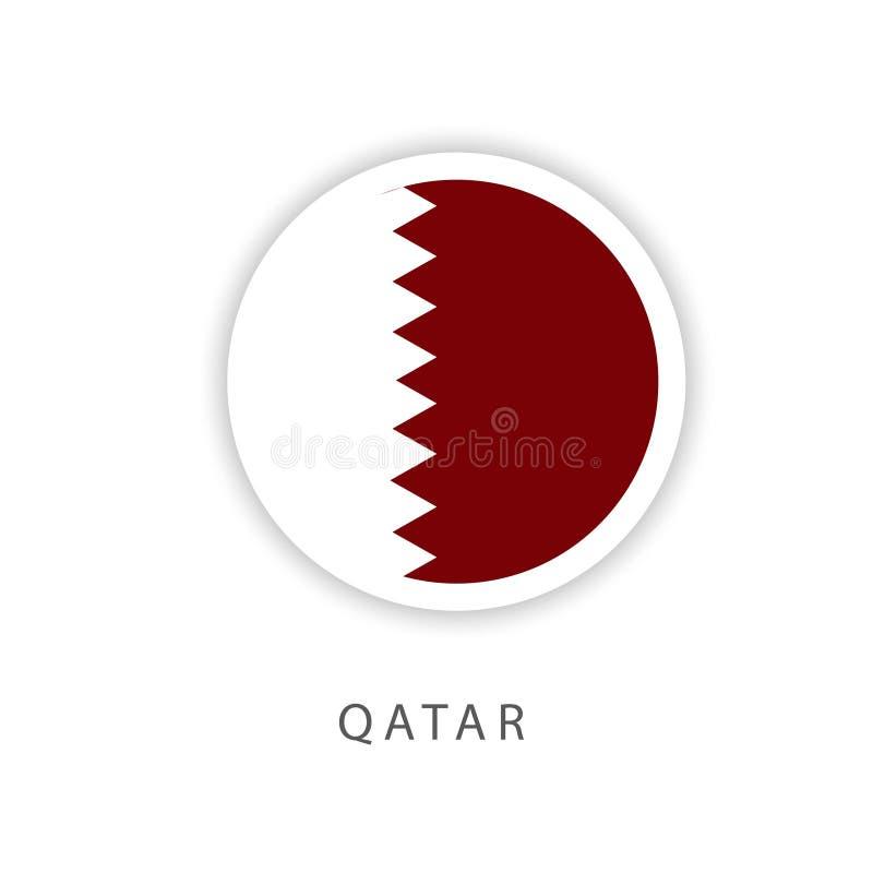 Illustrateur de conception de calibre de vecteur de drapeau de bouton du Qatar illustration de vecteur
