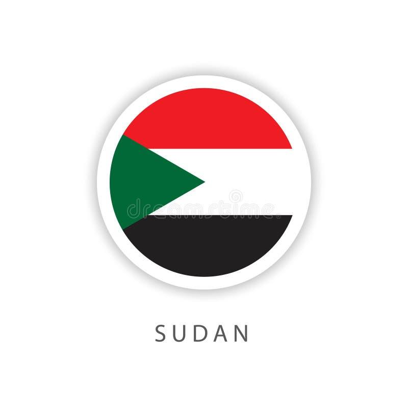 Illustrateur de conception de calibre de vecteur de drapeau de bouton du Soudan illustration stock
