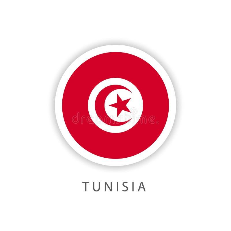 Illustrateur de conception de calibre de vecteur de drapeau de bouton de la Tunisie illustration de vecteur