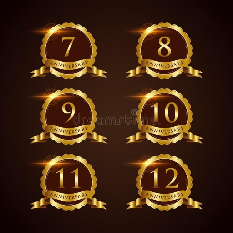 Illustrateur de luxe ENV de vecteur de l'anniversaire 7-12 d'insigne 10 illustration stock