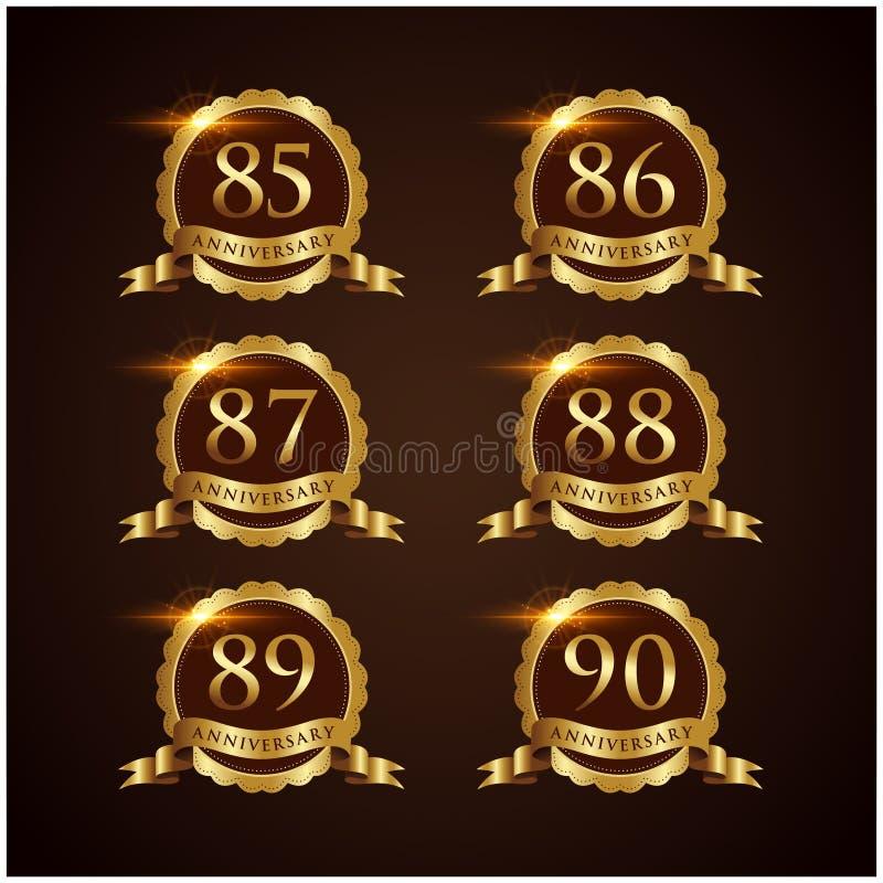 Illustrateur de luxe ENV de vecteur de l'anniversaire 49-54 d'insigne 10 illustration stock