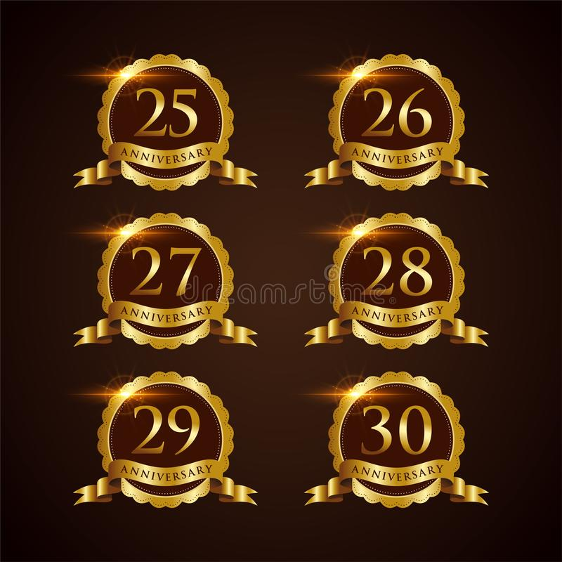 Illustrateur de luxe ENV de vecteur de l'anniversaire 25-30 d'insigne 10 illustration de vecteur