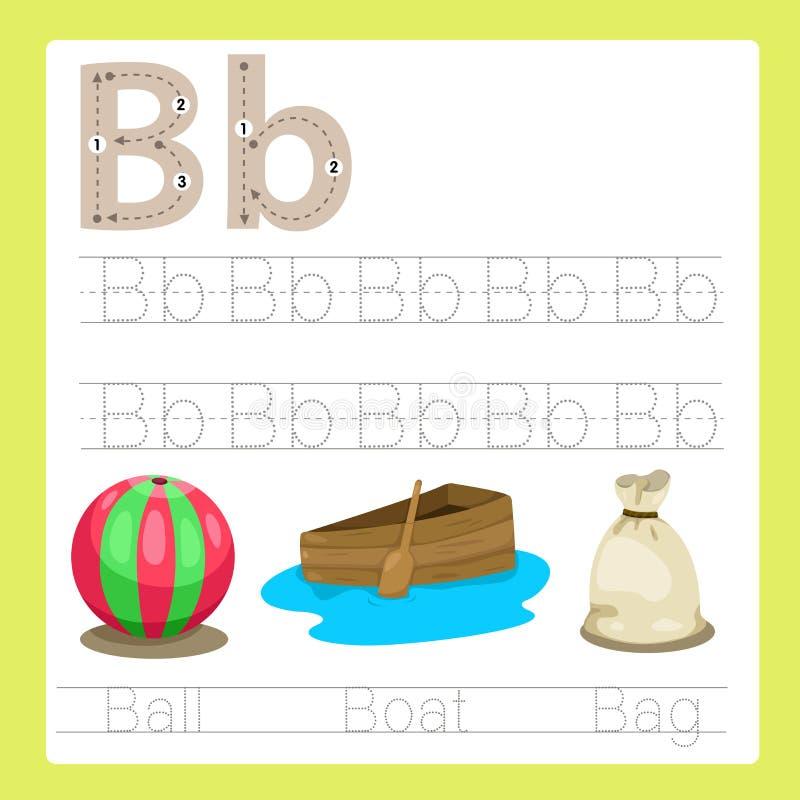 Illustrateur de vocabulaire de bande dessinée d'A-Z d'exercice de b illustration de vecteur