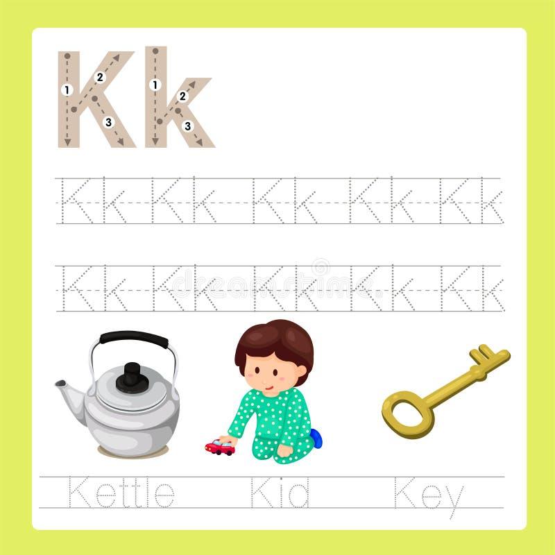 Illustrateur de vocabulaire de bande dessinée d'A-Z d'exercice de k illustration de vecteur