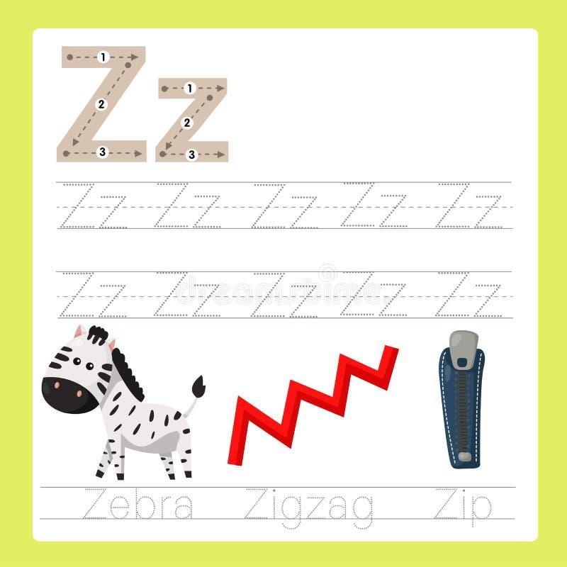 Illustrateur de vocabulaire de bande dessinée d'A-Z d'exercice de z illustration stock
