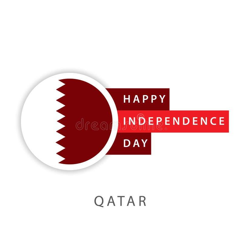 Illustrateur heureux de conception de calibre de vecteur de Jour de la Déclaration d'Indépendance du Qatar illustration libre de droits