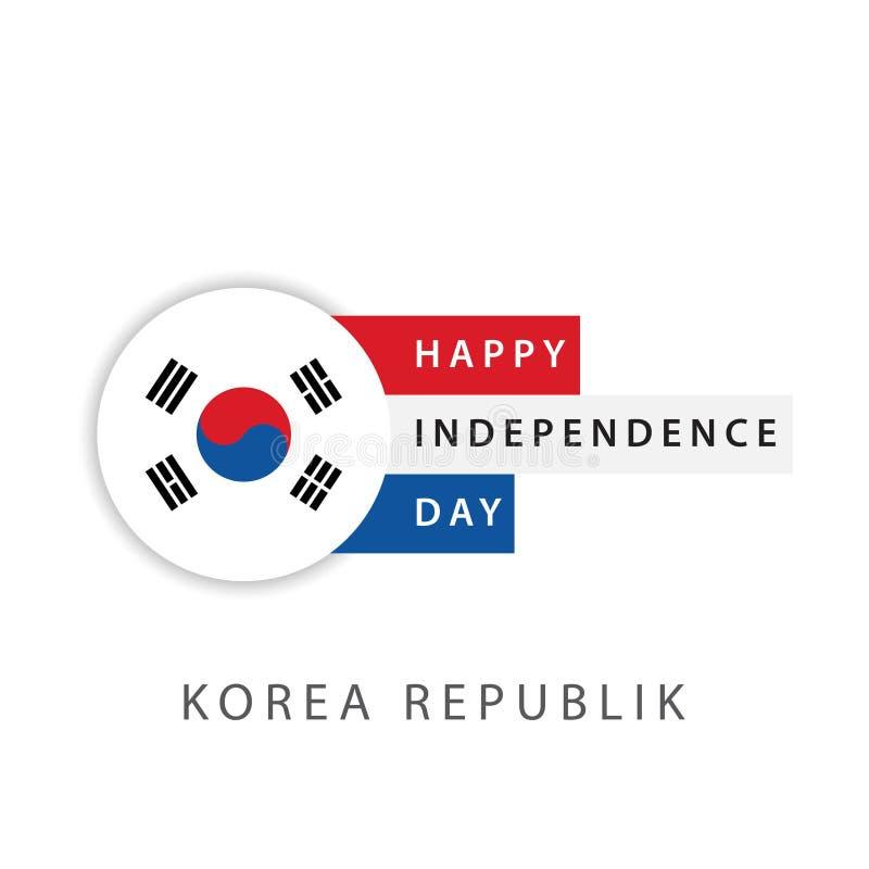 Illustrateur heureux de conception de calibre de vecteur de Jour de la Déclaration d'Indépendance de République de la Corée illustration libre de droits