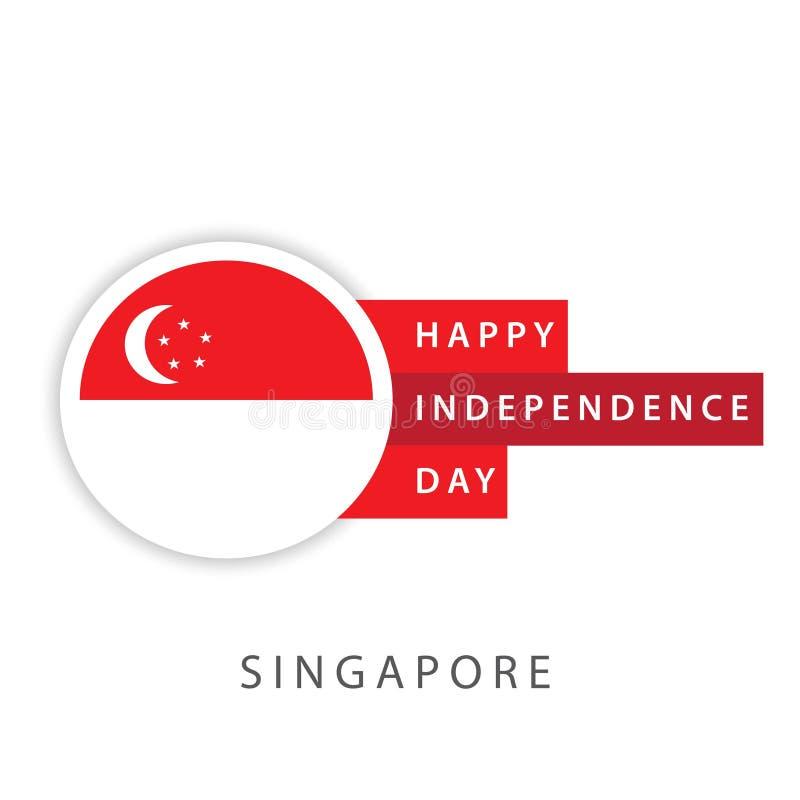 Illustrateur heureux de conception de calibre de vecteur de Jour de la D?claration d'Ind?pendance de Singapour illustration stock