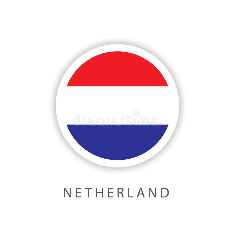 Illustrateur néerlandais de conception de calibre de vecteur de drapeau de bouton illustration libre de droits