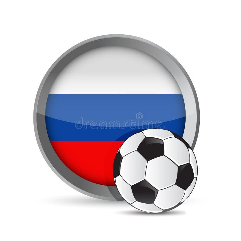 illustrateur russe de drapeau et de ballon de football Graphique de conception illustration de vecteur