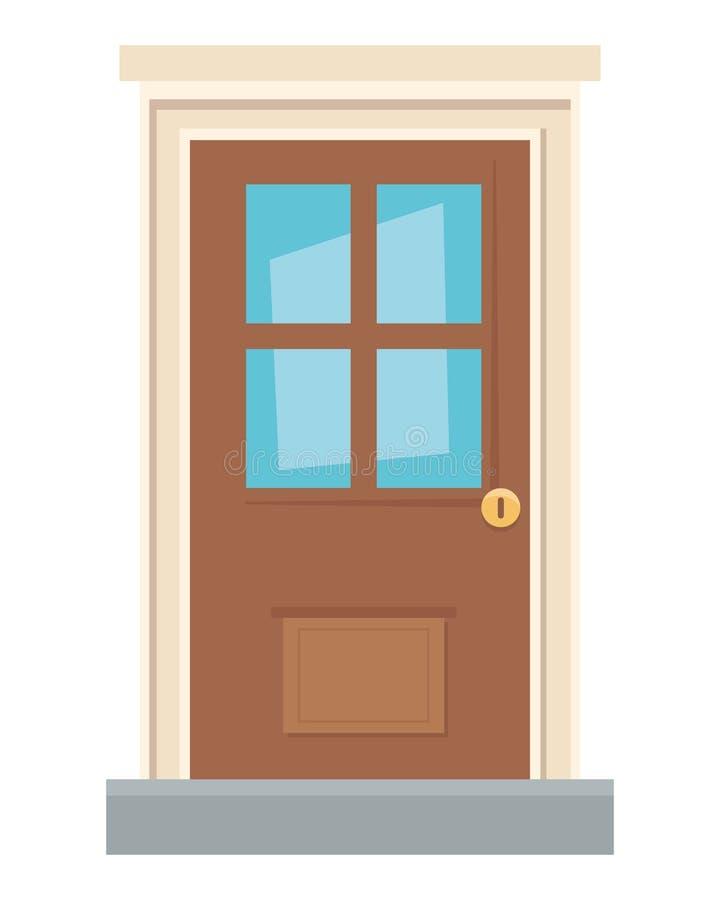 Illustrateur traditionnel de vecteur de conception de porte de maison illustration libre de droits
