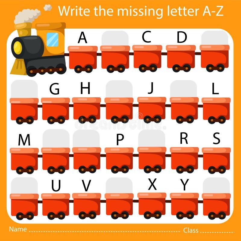 Illustrateur Write l'A-Z absent de lettre illustration stock