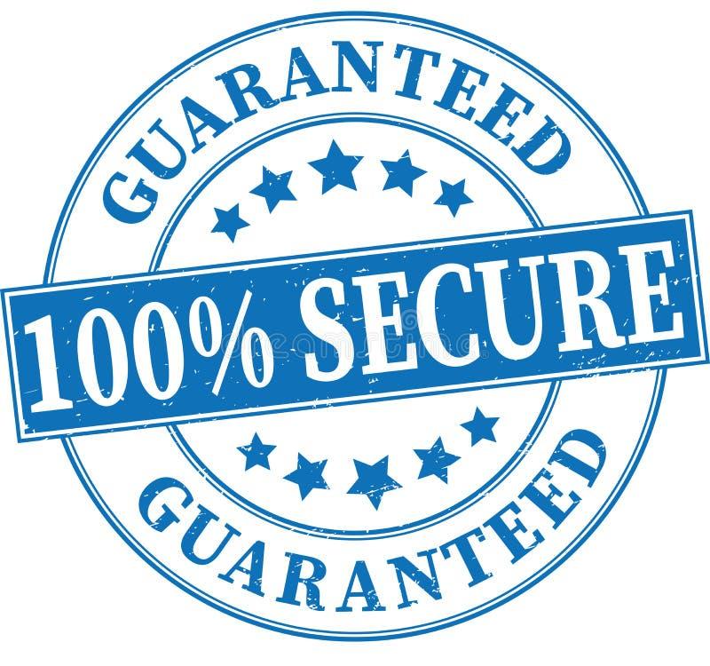 Illustrati избитой фразы сини 100% безопасное гарантированное grungy круглое бесплатная иллюстрация