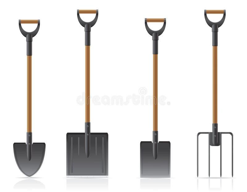 Illustrati del vector de la pala y del bieldo del utensilio de jardinería libre illustration