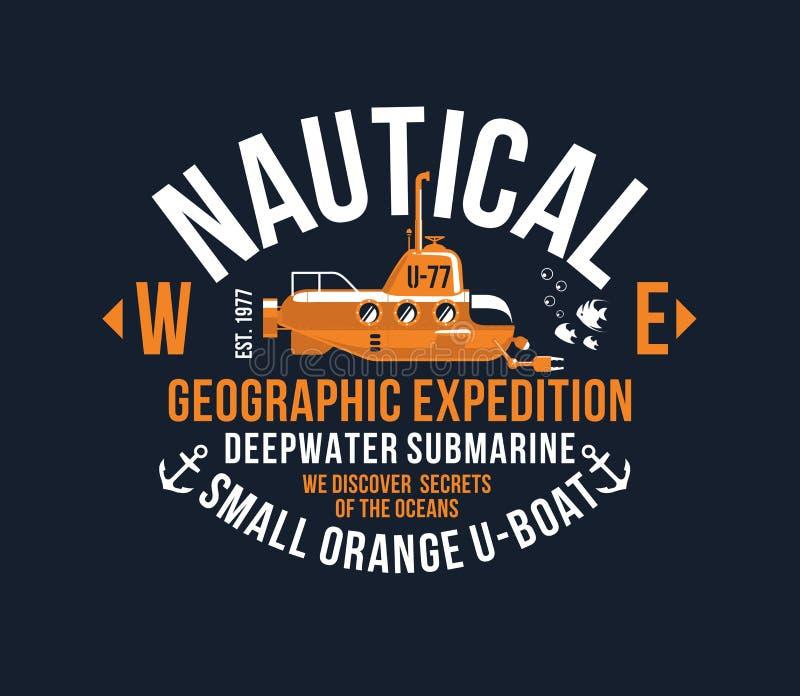 Illustrati för mall för tappning för nautisk gul för ubåt för T-tröjatypografitryck för tema för serigrafi design för stencil kal royaltyfri illustrationer