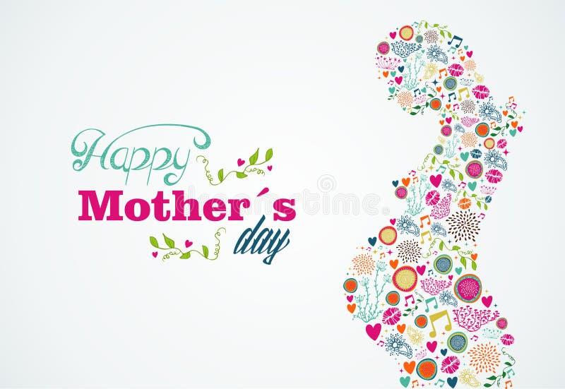 Illustrati felice della donna incinta della siluetta delle madri illustrazione di stock