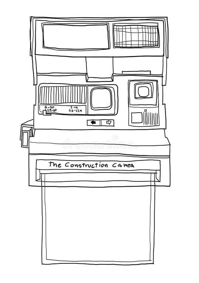 Illustrati mignon d'art de linr de papier blanc de film d'appareil-photo instantané illustration libre de droits