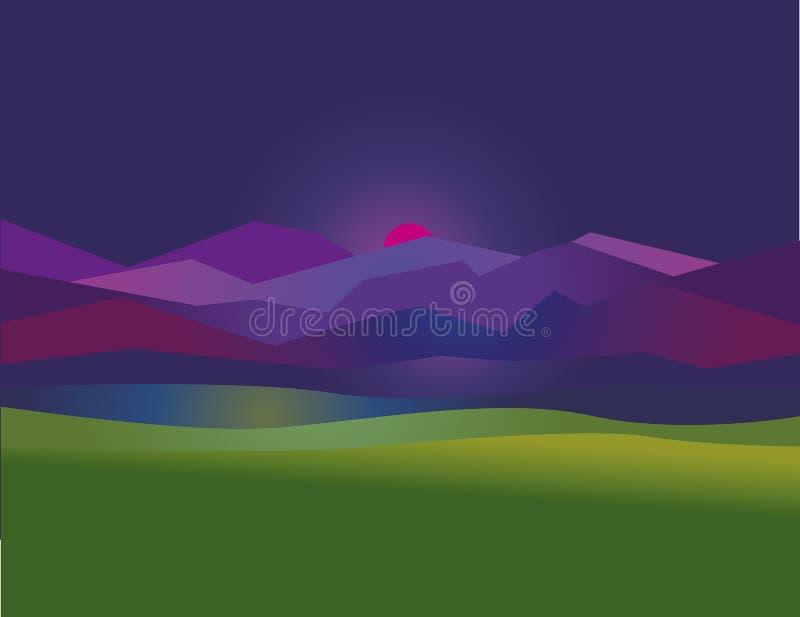 Illustrati simple del vector del paisaje de la puesta del sol de la montaña de la noche del concepto libre illustration