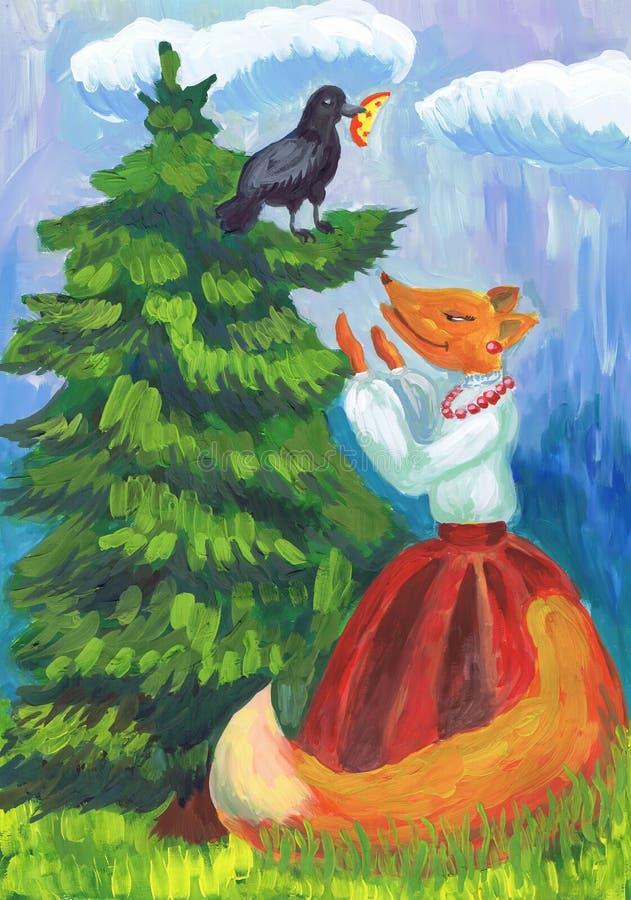 Illustratie aan de mythe door I A Krylov 'Kraai en een vos ' Kinderen` s tekening vector illustratie