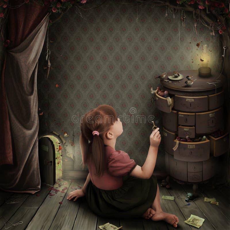 Illustratie aan het sprookje Alice in Sprookjesland royalty-vrije illustratie