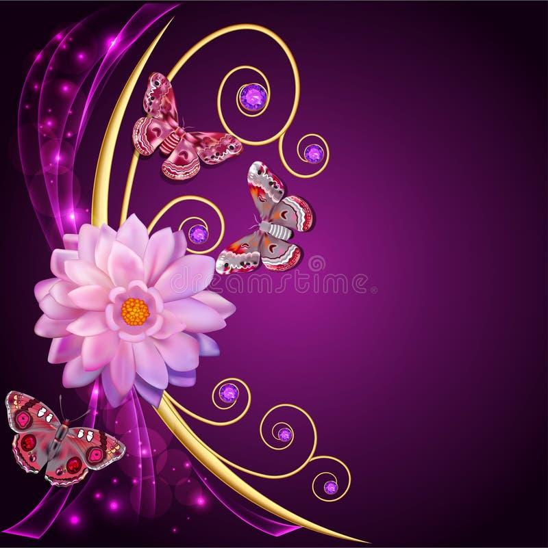 Illustratie abstracte achtergrond met bloemen en vlinders vector illustratie