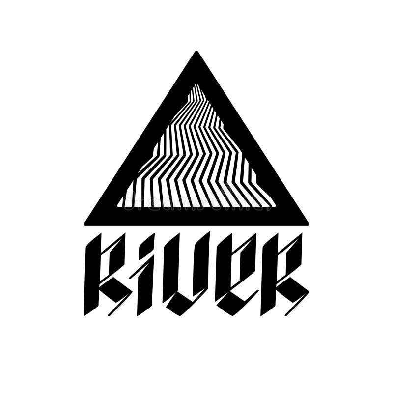 Illustratie abstracte rivier in een driehoek en een unieke spelling vector illustratie