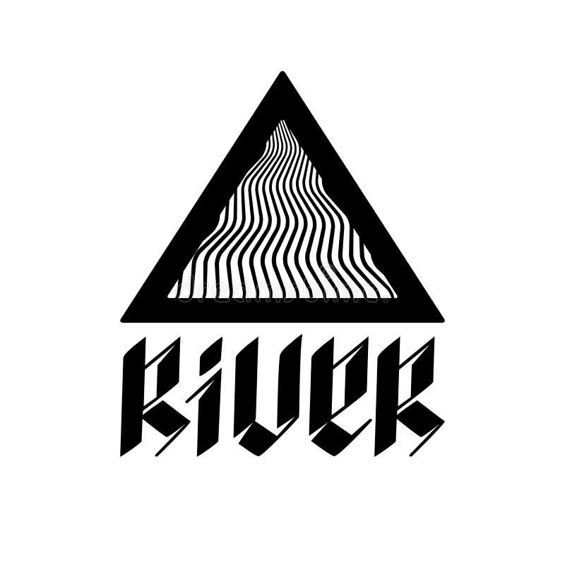 Illustratie abstracte rivier in een driehoek en een unieke spelling royalty-vrije illustratie