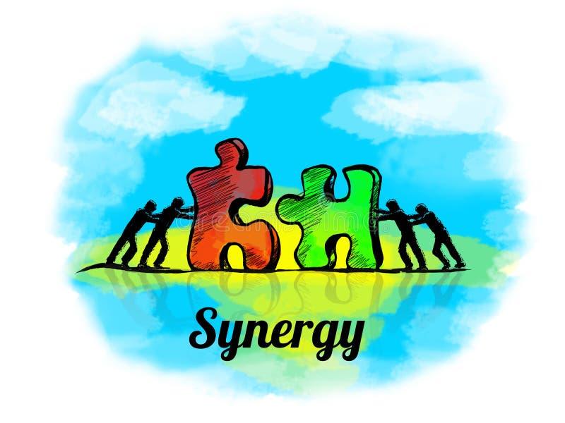 Illustratie Bedrijfsconcept groepswerk met puzzel synergisme royalty-vrije illustratie