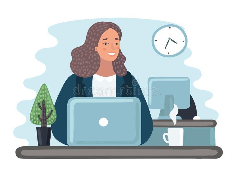 Illustratie bedrijfsvrouwen met documenten in bureau - vector royalty-vrije illustratie