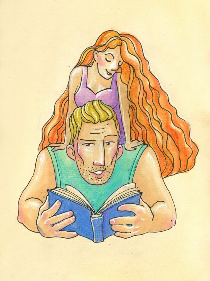 Illustratie in beeldverhaalstijl E de grote blonde man, leest vrouw een boek royalty-vrije illustratie