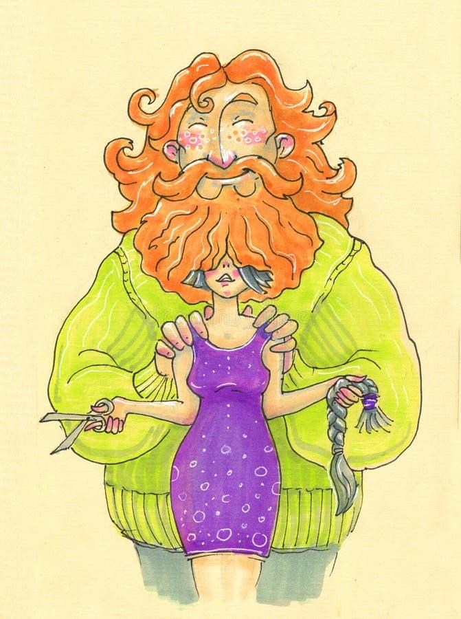 Illustratie in beeldverhaalstijl grote gebaarde man en vrouw die haar afsnijden stock illustratie