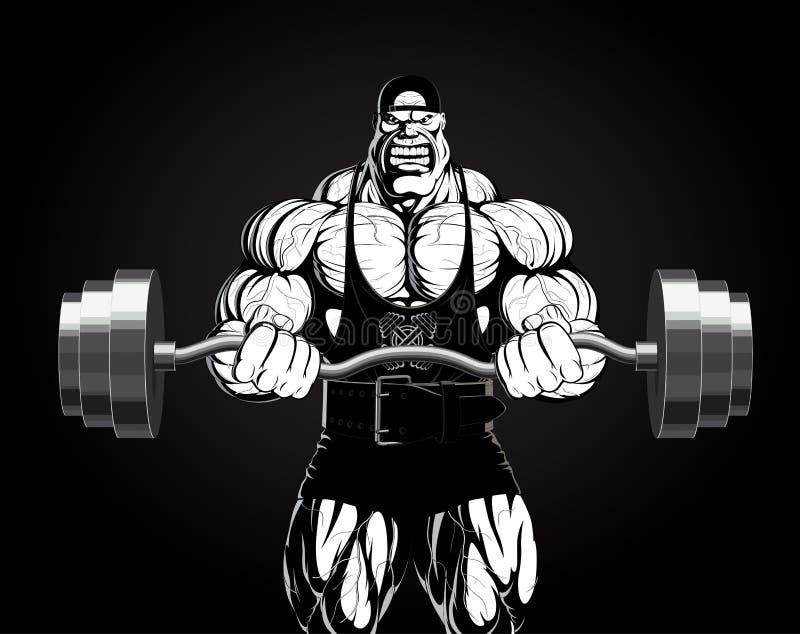 Illustratie: bodybuilder met een barbell royalty-vrije illustratie