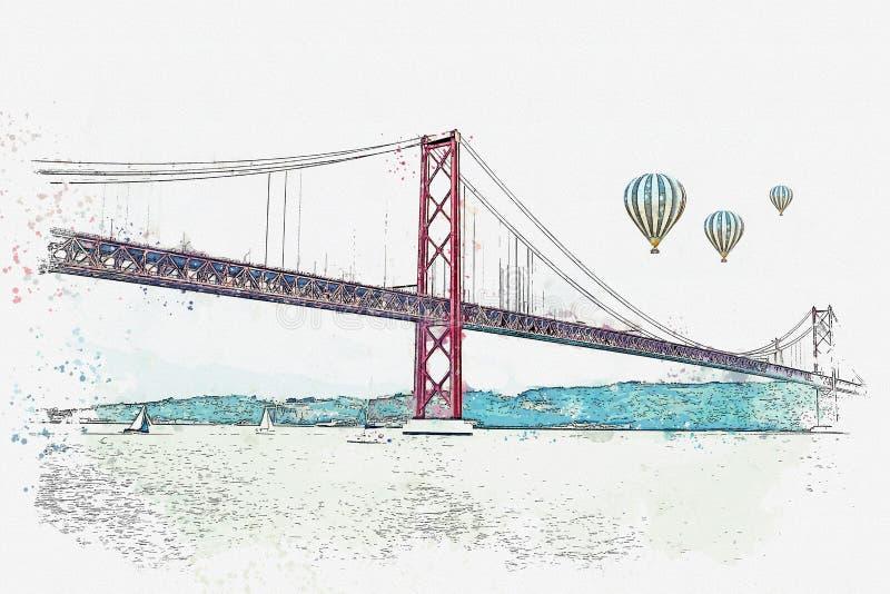 Illustratie Brug geroepen 25 April in Lissabon in Portugal stock illustratie