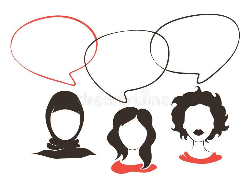 Illustratie -- de bespreking van vrouwen royalty-vrije illustratie