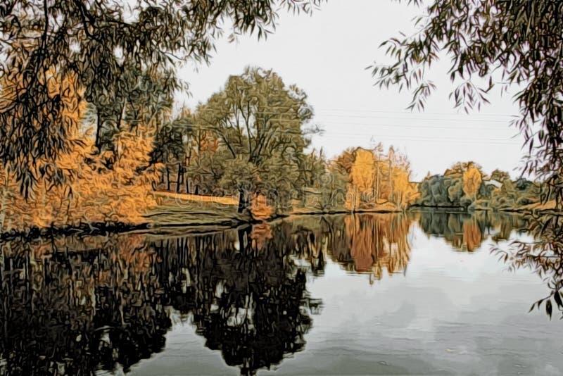 Illustratie - de herfstlandschap met bezinning in het water van een vijver royalty-vrije stock afbeelding