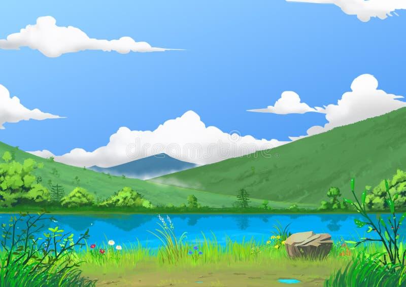 Illustratie: De lente: De Mooie Rivierkant door de Berg met Groene Verse Gras en Bloemen, na het Regenen stock illustratie