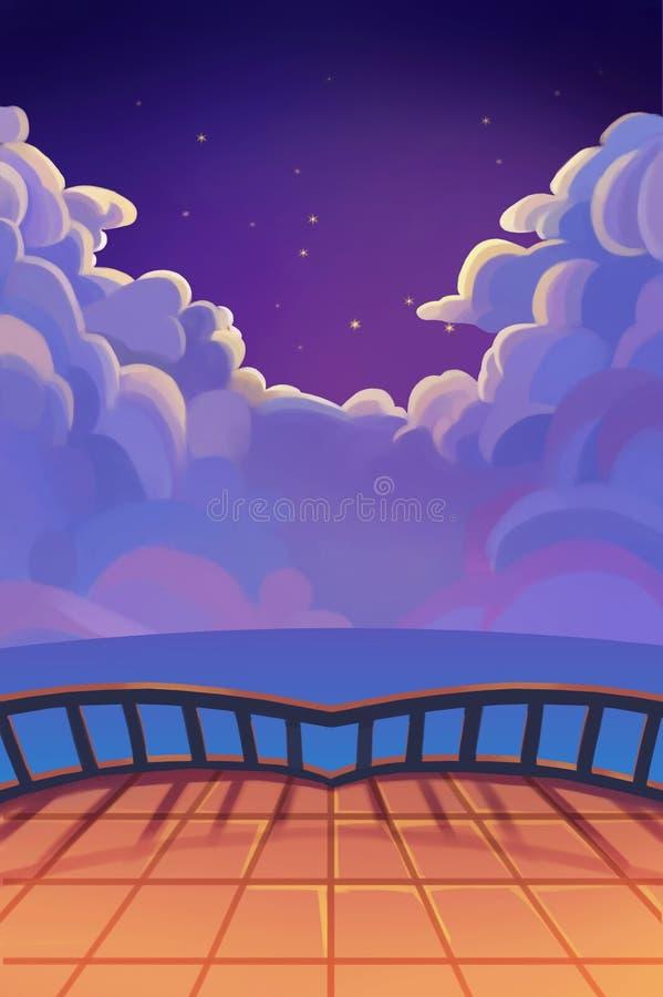 Illustratie: De Mooie Sterrige Nacht met Wolken Balkonmening De realistisch Scène van de Beeldverhaalstijl/Behang/Als achtergrond royalty-vrije illustratie