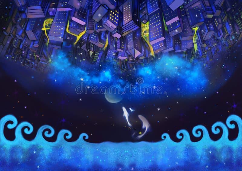 Illustratie: De Omgekeerde Stadsgebouwen in de Sterrige Nacht met Vliegende Vissen royalty-vrije illustratie