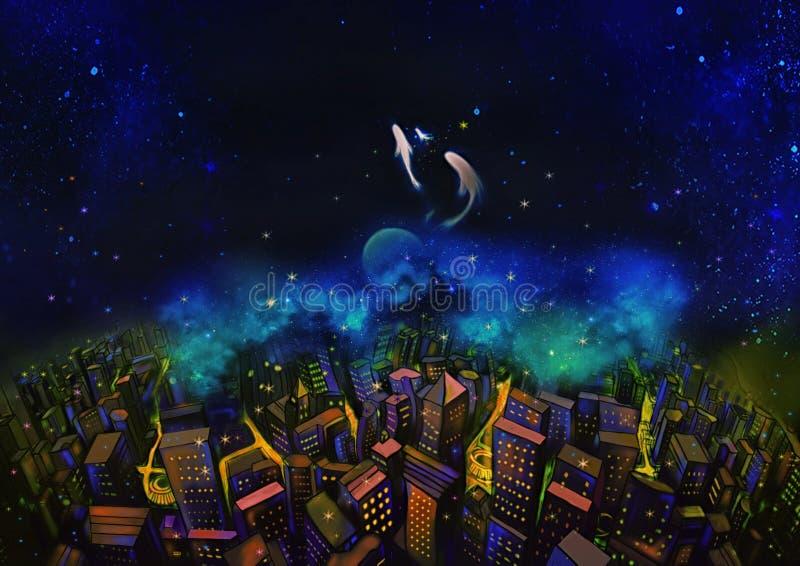 Illustratie: De Stad en de Fantastische Sterrige Nacht Met Vliegende Vissen in de Hemel royalty-vrije illustratie