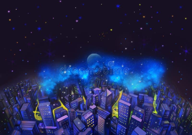 Illustratie: De Stad en de Fantastische Sterrige Nacht Met Vliegende Vissen in de Hemel Een Goede Wenskaart aangewezen voor om he vector illustratie