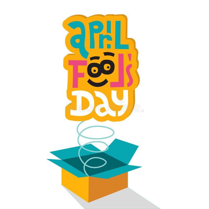 Illustratie die de Dag van April Fools vieren ` Het van letters voorzien het citaat April voor de gek houdt dag die uit doos opsp vector illustratie