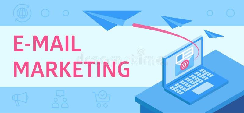 Illustratie die e-mailmarketing beschrijven, als modern zakelijk hulpmiddel stock illustratie